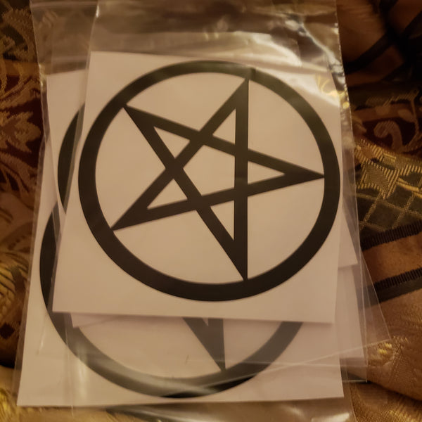 Black Pentacle / Pentagram Sticker  / Decal 3 1/2 inches - Tree Of Life Shoppe