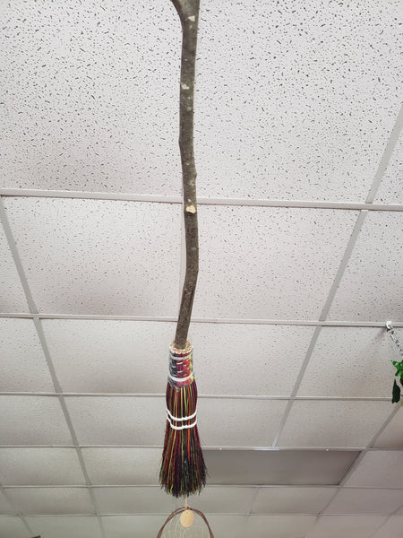 Hand Crafted Besom with Wooden Handle 36 inches - Tree Of Life Shoppe