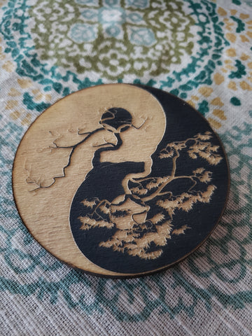 Ying Yang Tree with Moon Engraved Wooden Magnet - Tree Of Life Shoppe