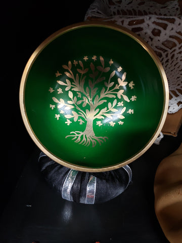 Green Tree Of Life Singing Bowl with Mallet - Tree Of Life Shoppe