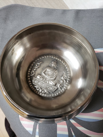 Silver White Tibetan Meditation Singing Bowl - 5 inch diameter - Tree Of Life Shoppe
