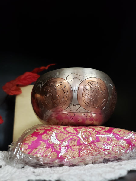 Tibetan Singing Bowl  4 inch 2 tone with bronze gift set - Tree Of Life Shoppe