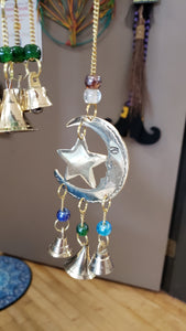 Three Bell Star and Moon Wind Chime 9 inch - Tree Of Life Shoppe
