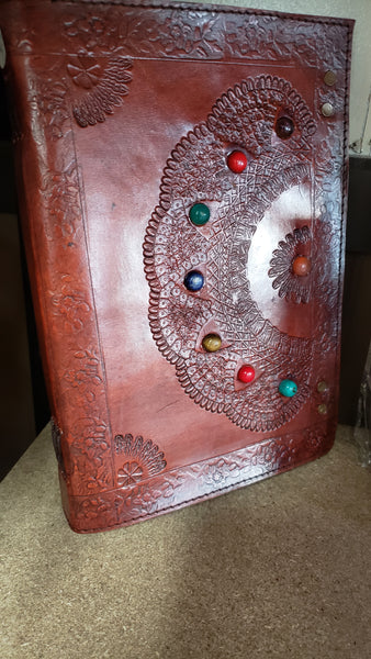 Embossed Mandala Leather Journal 10 by 7 inches - Tree Of Life Shoppe