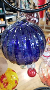 Sapphire Ribbed Witch Globe 4 inches - Tree Of Life Shoppe