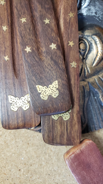 Wooden with Brass Inlay Incense Holders - Various - Tree Of Life Shoppe