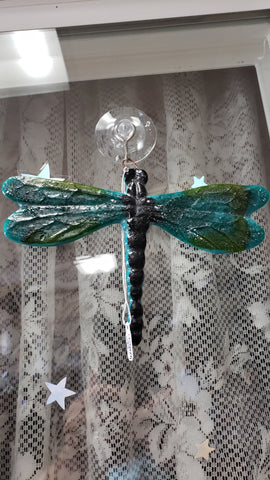 Hand crafted Fused Glass Suncatcher - Large Dragonfly - Tree Of Life Shoppe