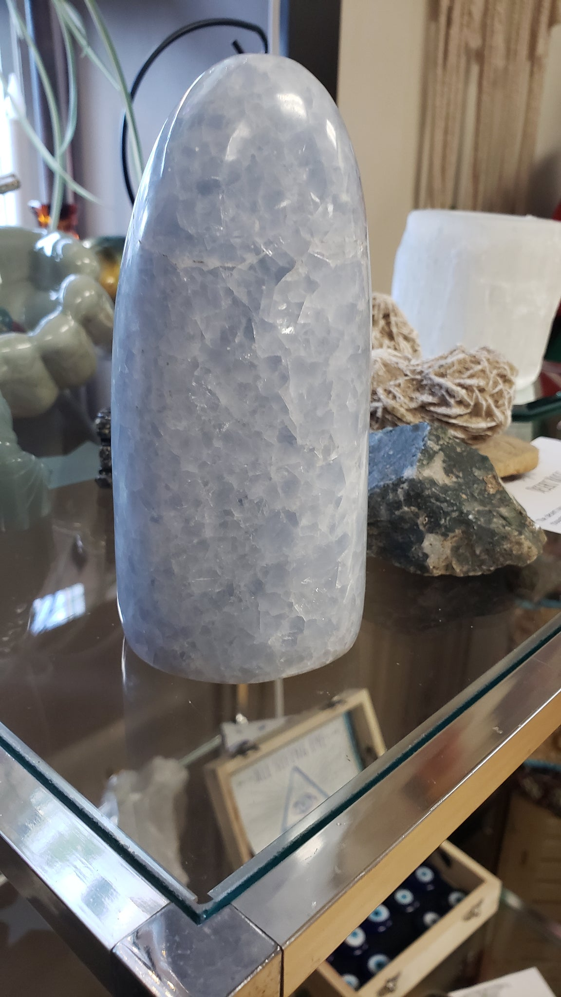 Blue Calcite Free Form Unicorn Horn 5 1/2  inches - Tree Of Life Shoppe