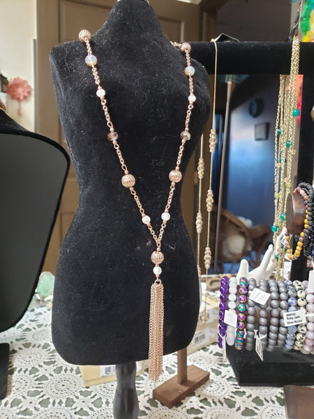 Beaded Necklace - Mauve and Rose Gold with tassel chain - Tree Of Life Shoppe