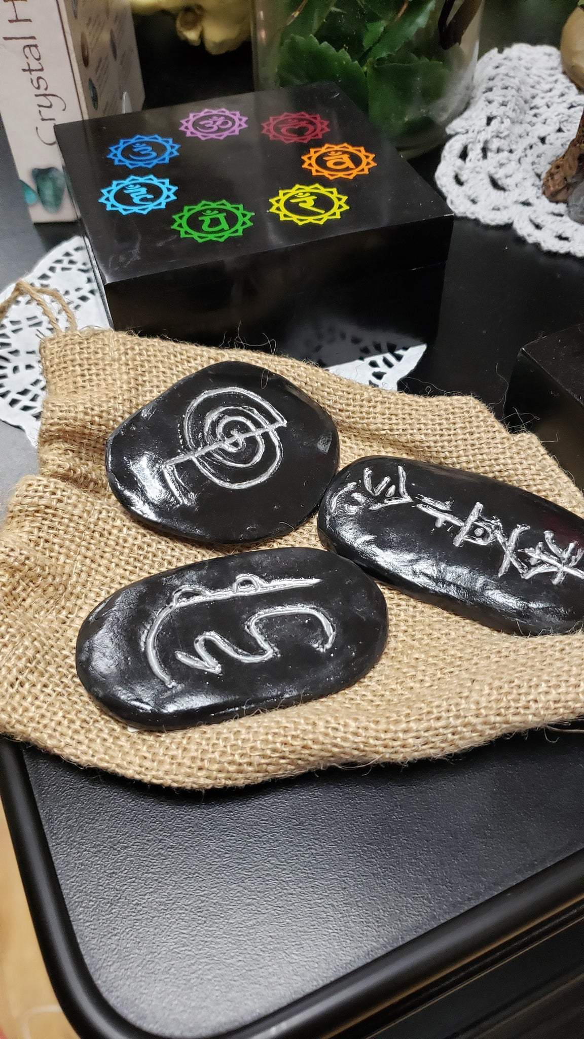 Handcrafted Pottery Reiki Stone Set - Tree Of Life Shoppe