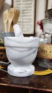 White Marble Mortar and Pestle 4 inches - Tree Of Life Shoppe