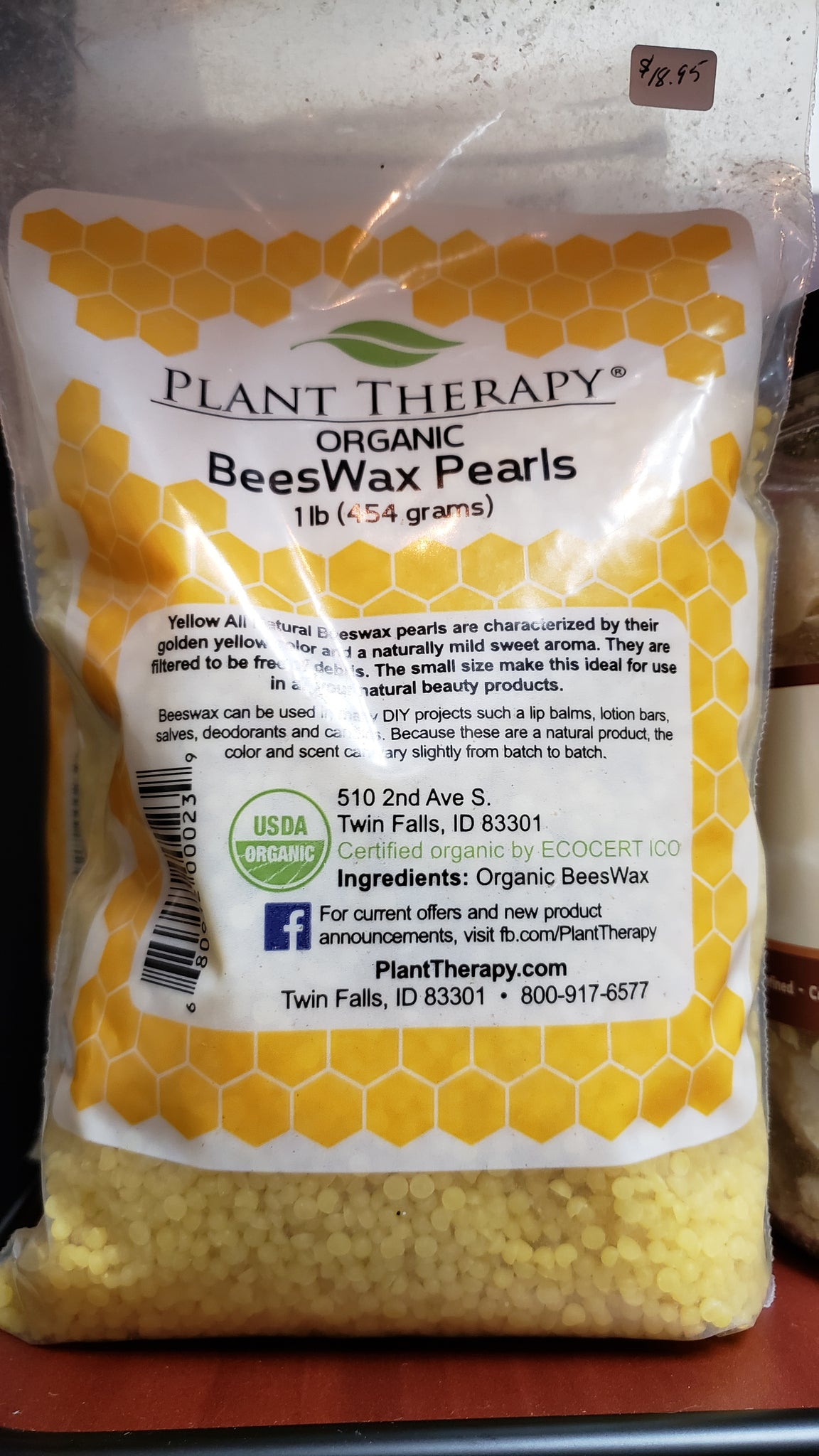 Organic Yellow Beeswax Pearl 1 lb bag