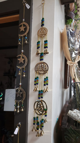 "Three Triquetra  Brass Chime with Beads - 25""L"