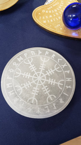 Engraved Selenite Disc Helm of Awe