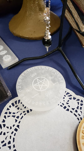 Engraved Selenite Disc Pendulum Board