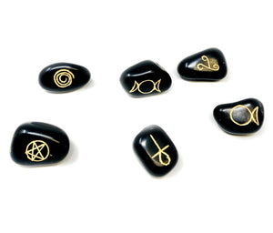 WICCA SYMBOL BLACK AGATE TUMBLED - Tree Of Life Shoppe