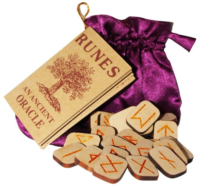 Wooden Tile Rune Set With Embroidered Bag - Tree Of Life Shoppe