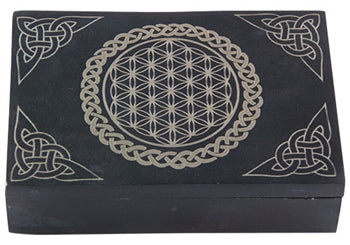 Flower of Life Carved Black Stone Box