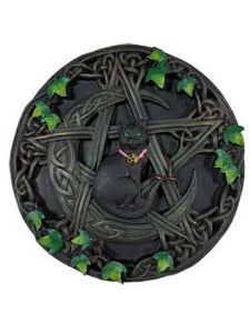 Cat, Moon and Pentagram Wall Plaque 7 1/2""