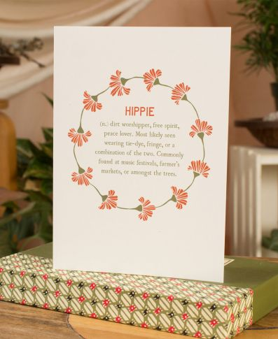 HIPPIE DEFINITION GREETING CARD - BLANK INSIDE - Tree Of Life Shoppe