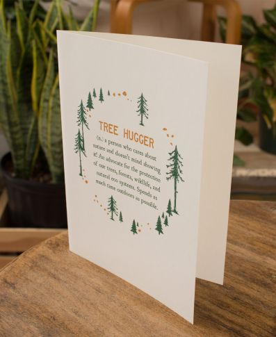 TREE HUGGER DEFINITION GREETING CARD- BLANK INSIDE - Tree Of Life Shoppe