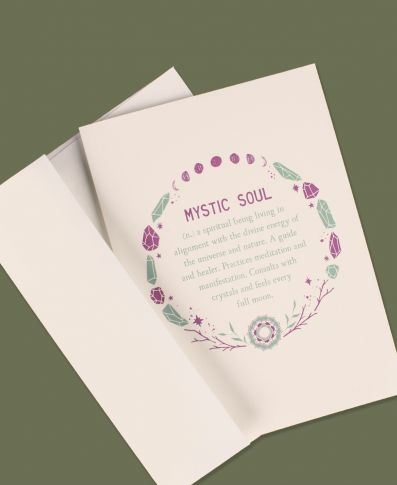MYSTIC SOUL DEFINITION GREETING CARD - BLANK INSIDE - Tree Of Life Shoppe