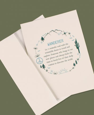 WANDERER DEFINITION GREETING CARD - BLANK INSIDE - Tree Of Life Shoppe