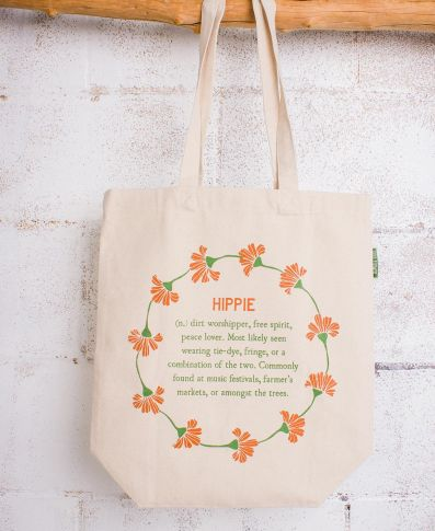HIPPIE DEFINITION ECO TOTE BAG - Tree Of Life Shoppe