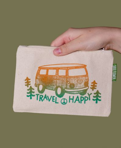 TRAVEL HAPPY LARGE ZIPPER - Tree Of Life Shoppe