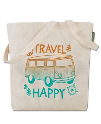 TRAVEL HAPPY ECO TOTE BAG - Tree Of Life Shoppe