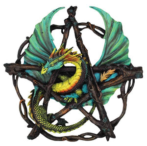 "Forest Pentagram Dragon Wall Plaque 13"" - Tree Of Life Shoppe"
