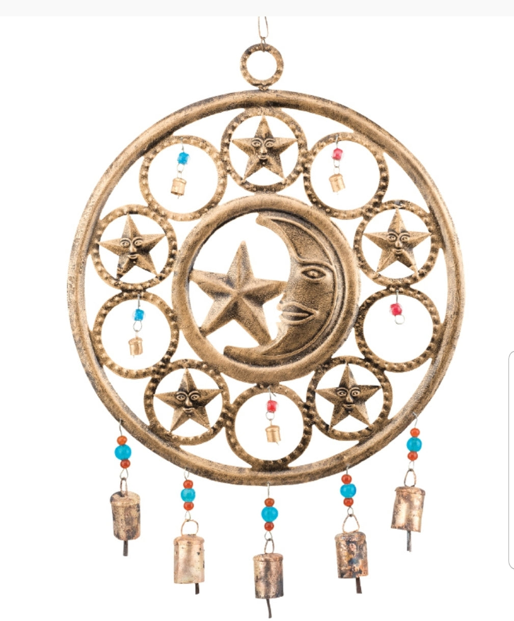 RECYCLED CIRCULAR MOON AND STAR CHIME - Tree Of Life Shoppe