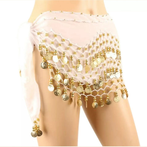 Belly Dance Coin Skirt / Hip Scarf Silver Coins (Med/ Large) - Tree Of Life Shoppe