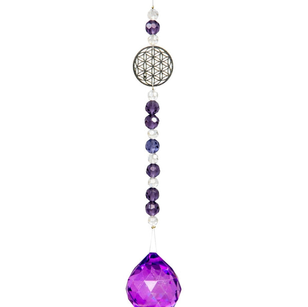 Crystal Suncatcher Flower of Life - Purple - Tree Of Life Shoppe