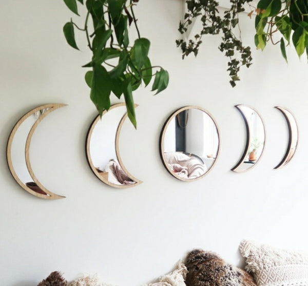 Wooden Moon Phase Mirror 5 Piece Set - Tree Of Life Shoppe
