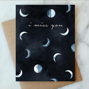 Miss You Moons Card, Greeting Card
