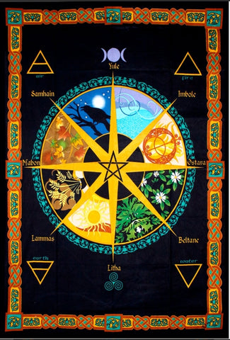 Cotton Pagan Wheel of Year Tapestry - Tree Of Life Shoppe