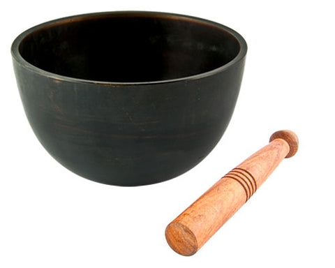 "Plain Tibetan Meditation Tibetan Singing Bowl Black Finish - 5""D"