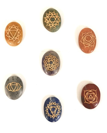 7 Chakras Engraved Oval Stones - Tree Of Life Shoppe