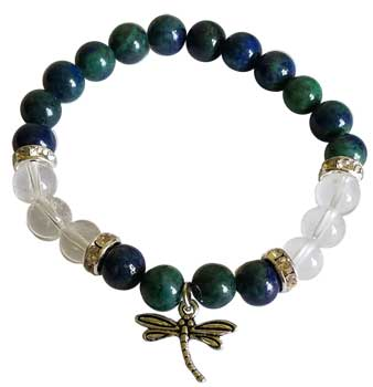 Chrysocolla & Clear Quartz 8mm Bead Bracelet with Dragonfly Charm - Tree Of Life Shoppe