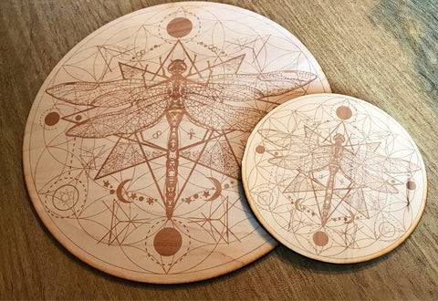 Dragonfly and Flower Of Life Crystal Grid / Altar Tile - Tree Of Life Shoppe