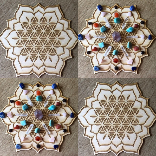 FLOWER OF LIFE LOTUS CRYSTAL GRID - Tree Of Life Shoppe