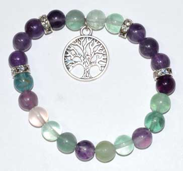Rainbow Fluorite & Amethyst 8mm Bead Bracelet with Tree of Life Charm - Tree Of Life Shoppe