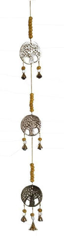 Three Tree of Life Brass Wind Chime and Beads 29 inhces