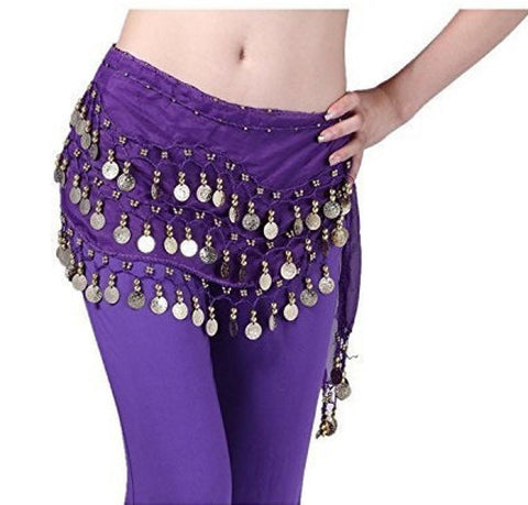 Belly Dance Coin Skirt / Hip Scarf Gold Coins (Small / Med) - Tree Of Life Shoppe