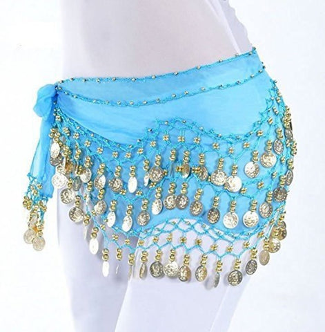 Belly Dance Coin Skirt / Hip Scarf Gold Coins (Med /Large) - Tree Of Life Shoppe
