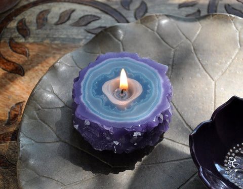 Amethyst Flower Stalactite Crystal Geode Agate Candle Votive - Tree Of Life Shoppe