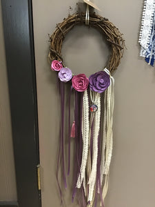 Purple and Pink Flower Tree of Life  Wreath - Tree Of Life Shoppe