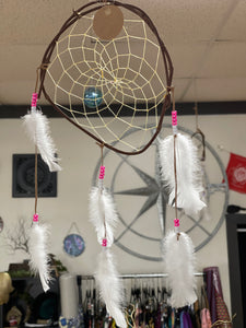 Large Vine Dream Catcher Handmade pink and white beads (curved) - Tree Of Life Shoppe
