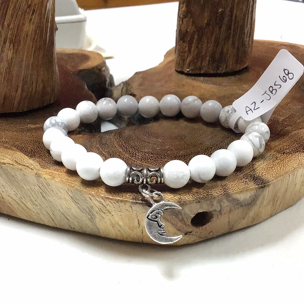Howlite 8mm Bracelet with Crescent Moon Charm